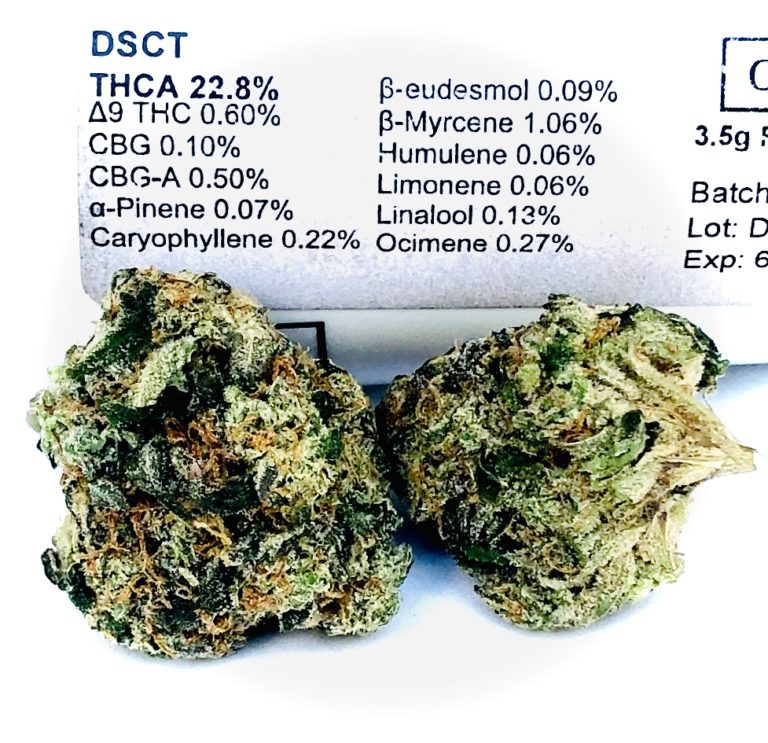 terpene and thc testing information displayed on curio label with two buds of DSCT in the foreground