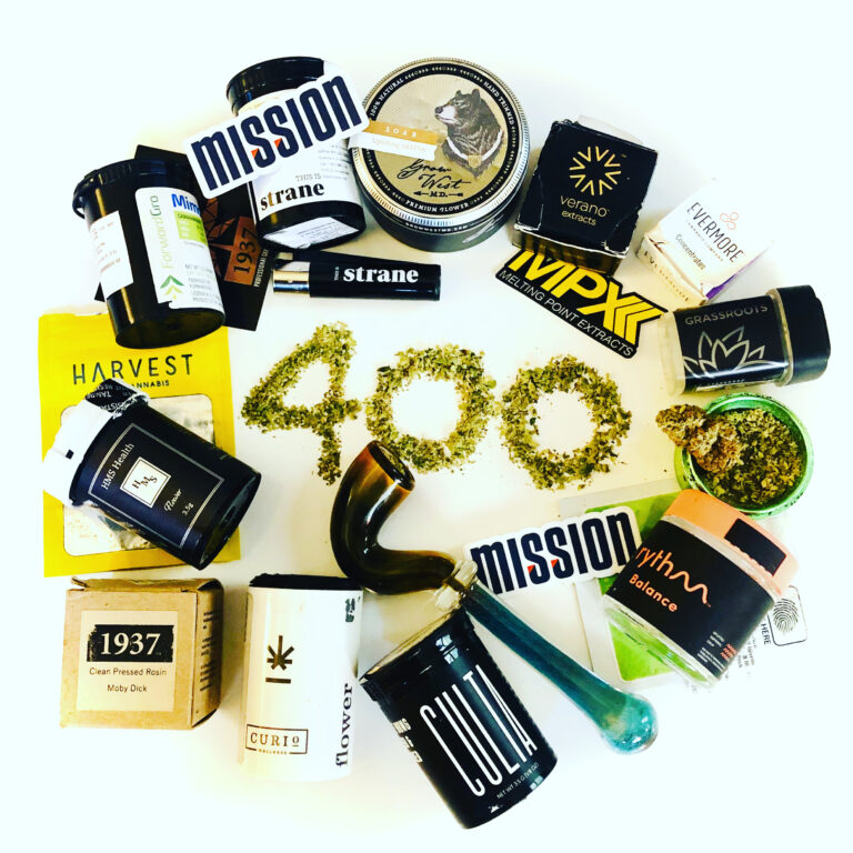 maryland cannabis reviews celebrates 400 followers on Instagram with a collection of cannabis industry containers and decals