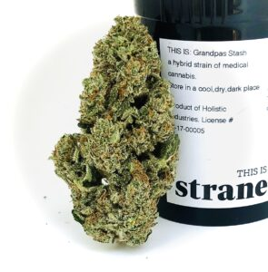 grandpas stash bud leaning against strane container