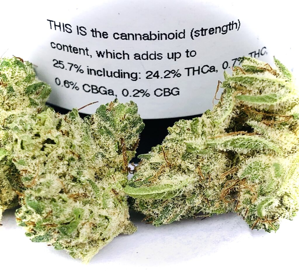 snow monster potency label with buds