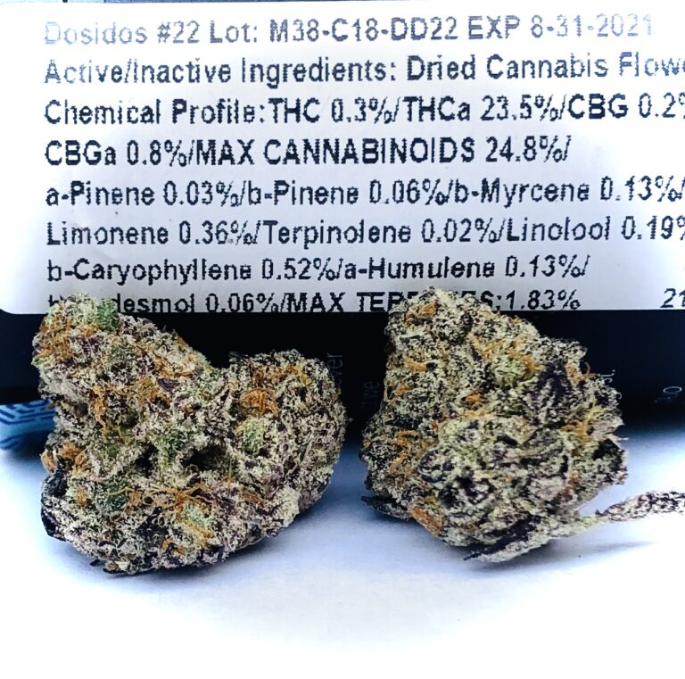 Dosidos #22-22 terpene and potency label with two buds