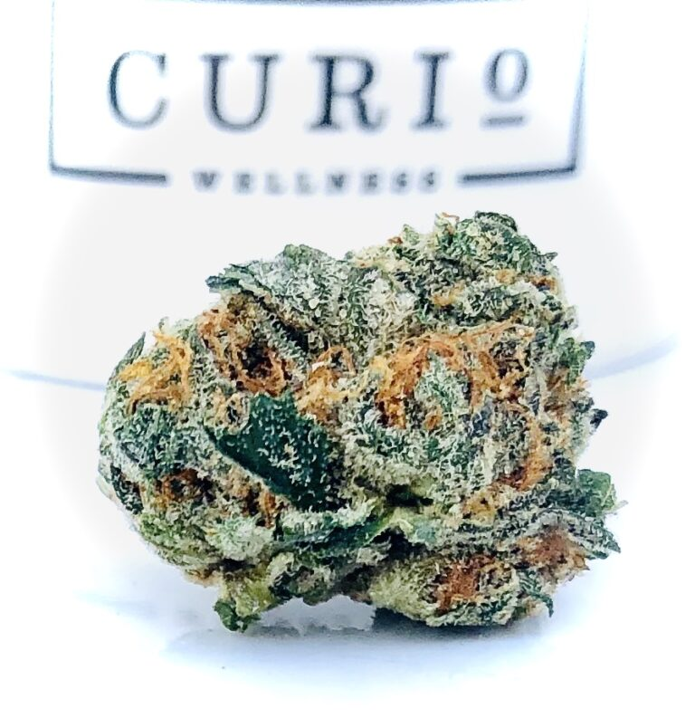ogkb by curio og kush breath bud against curio container