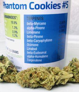 phantom cookies by forwardgro terpene label with buds below