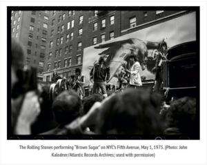 rolling stones on flatbed truck in nyc