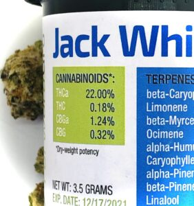 grass green colored cannabinoid label on forwardgro container of jack white cannabis strain