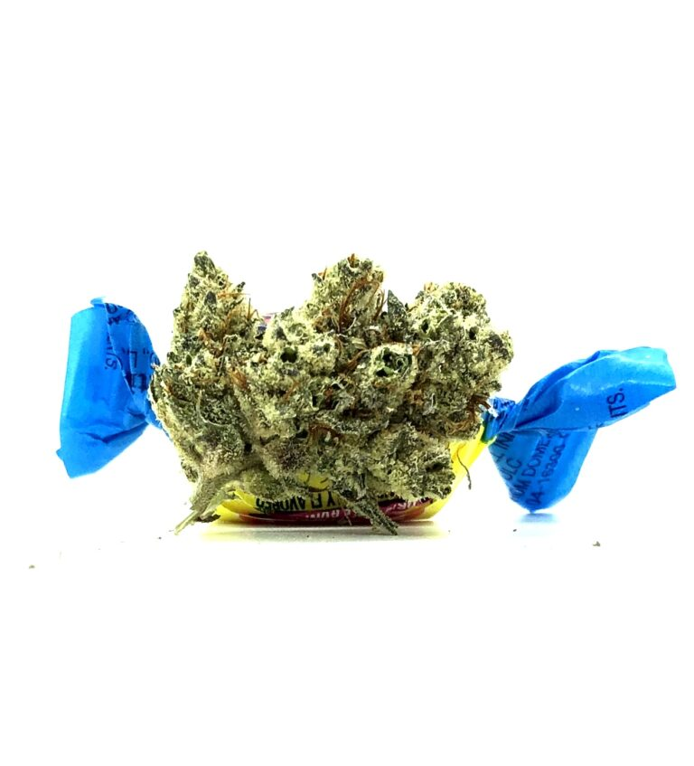 improved image of bodega bubblegum bud with blue bubble gum wrapper ties behind and on either side giving the illusion of bud candy