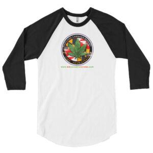 MD Cannabis Review retro logo 3/4 sleeve raglan shirt