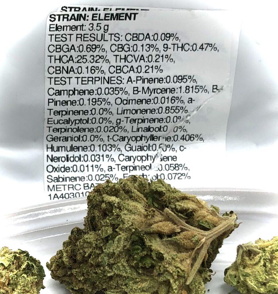 terpene and potency label for Harvest Modern Flower indica strain Element strain aka 5th Element