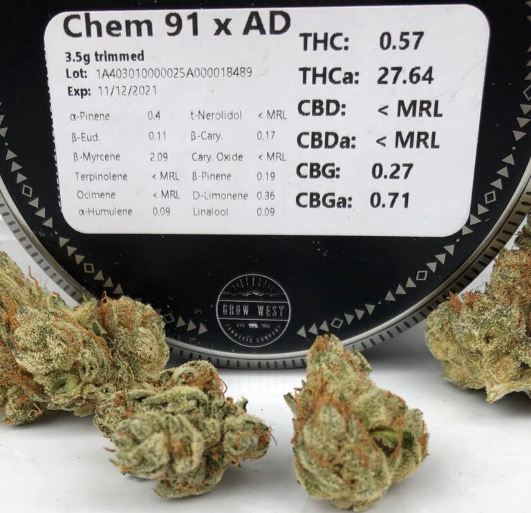 terpene and potency label on grow west container with buds of chem 91 x ad in the foreground