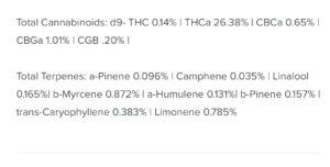 Total Cannabinoids d9- THC 0.14 I THCa 26.38 I CBCa 0.65