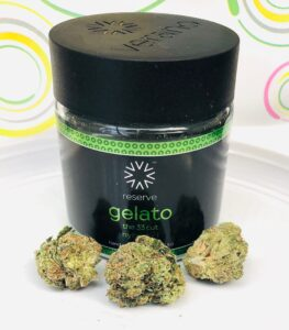 jar of gelato by verano with 3 buds in the foreground