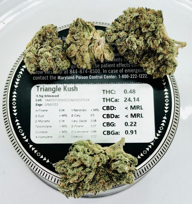 buds of triangle kush by grow west on top of tin surrounding terpene and potency label