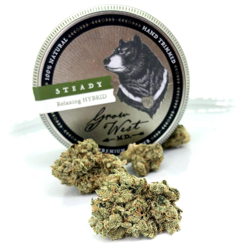 buds of triangle kush by grow west with grow west tin behind on white background