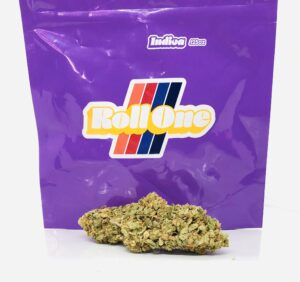 critical sensi star buds in front of purple roll on ziplock bag