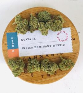 buds of guava ix strain on wooden natures heritage lid