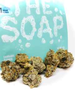 buds of the soap in front of cookies culta turquoise ziplock container with the soap written in bath bubble text graphic