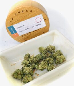 guava ix strain in a dish with wooden lid behind