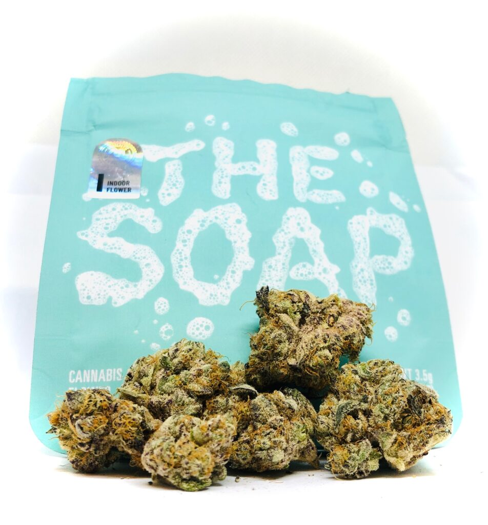 main photo of the soap by cookies and culta displaying buds in front of turquoise culta ziplock