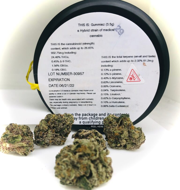 potency label for stranes gummiez with buds in front